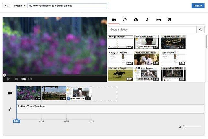 Application de montage de vidéos YouTube