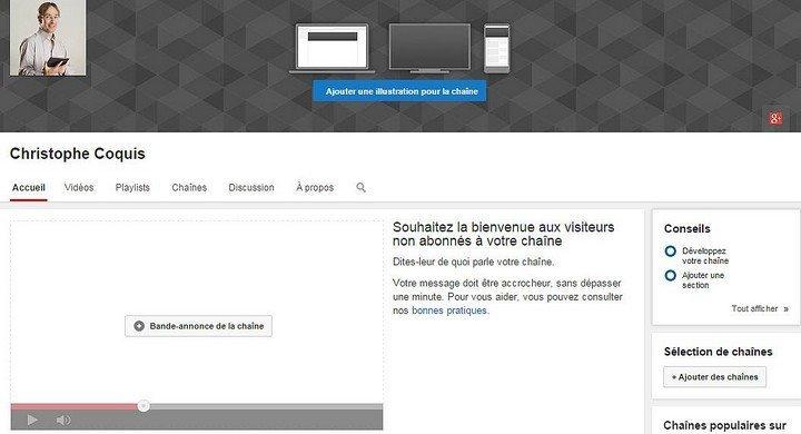 Créer sa page d'accueil de sa chaîne Youtube