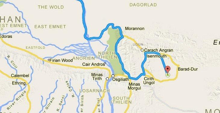 Google Maps - La Terre du Milieu - extrait
