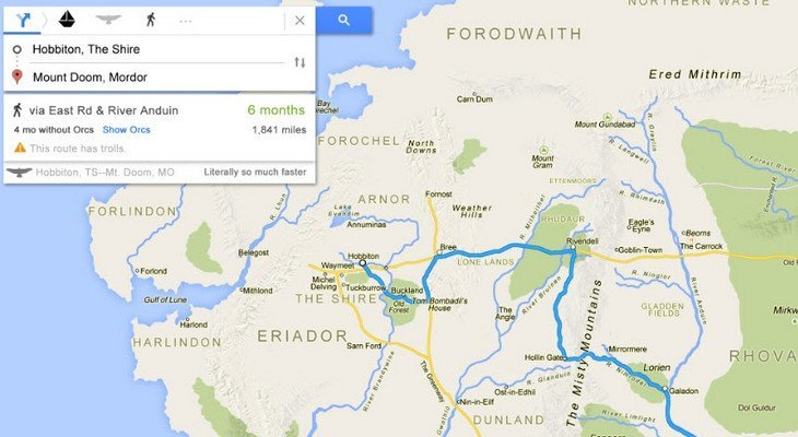 La Terre du Milieu dans Google Maps, cela donnerait quoi ?