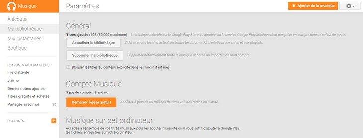 Google Play Musique bibliothèque