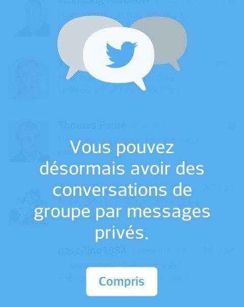 Twitter fonctionnalité message groupe dispo