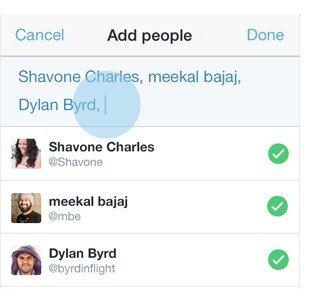 Twitter - plusieurs noms dans un message