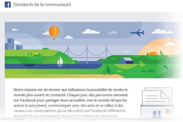 Facebook page Standards de la communautés