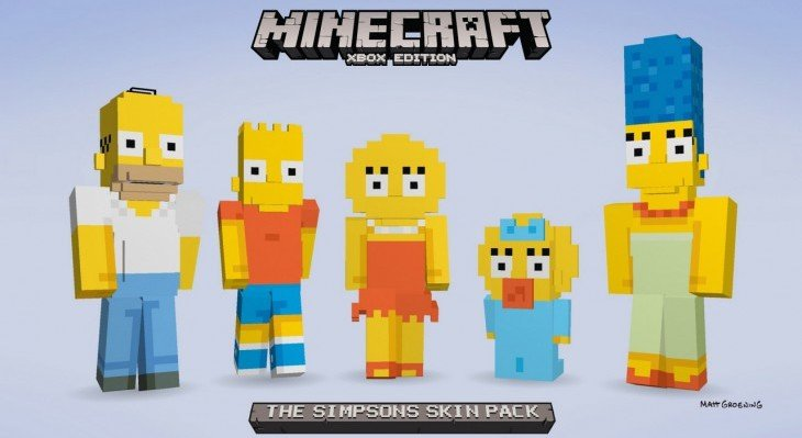 The Simpsons Minecraft Skin Pack disponible sur la Xbox !