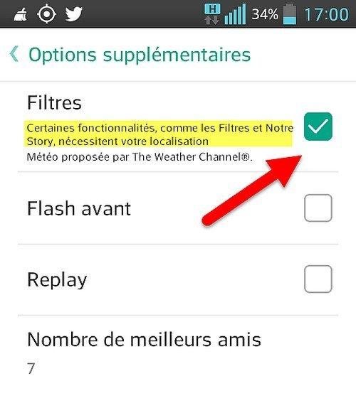 Snapchat Filtres menu