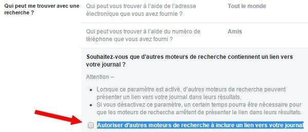 éviter indexation moteurs de recherche - Facebook