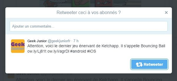 Commentaire retweet Twitter