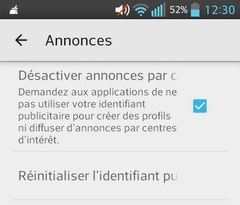 Désactiver annonce Android