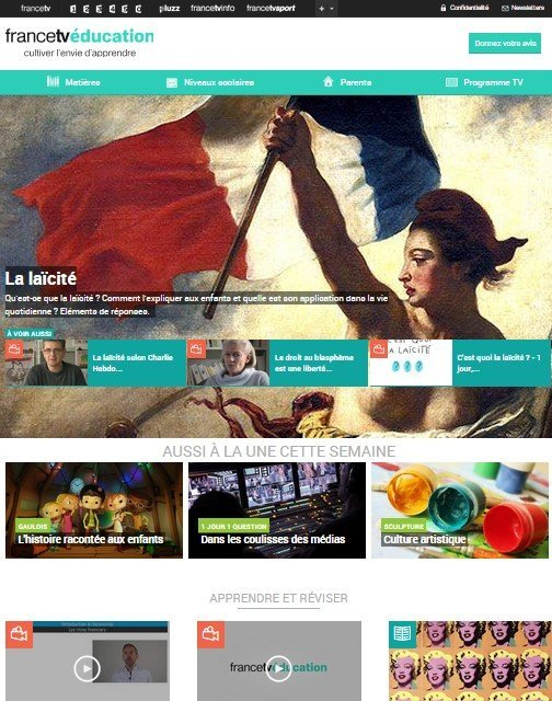 FranceTv éducation homepage