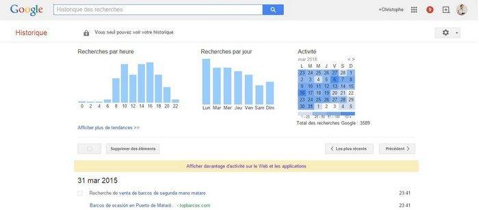 Google  historique des recherches