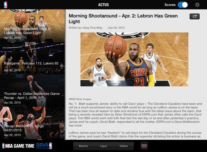 NBA Game Time actualité