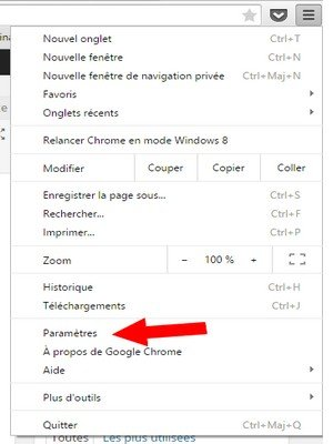 Paramètres Chrome