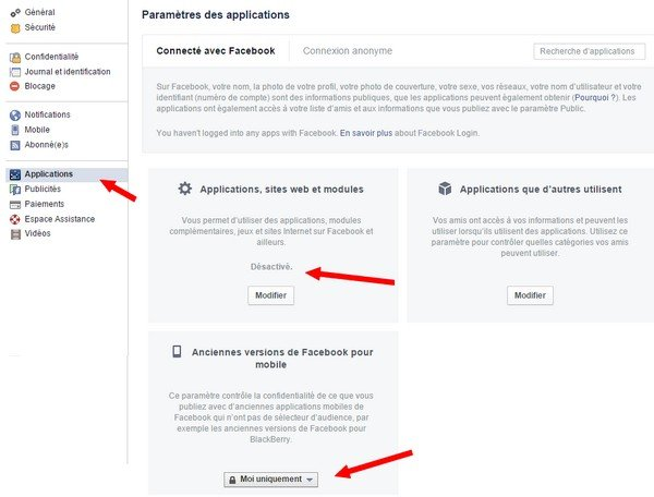 Paramètres applications - Facebok