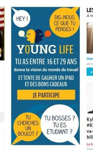 Publicité Young Life sur Melty