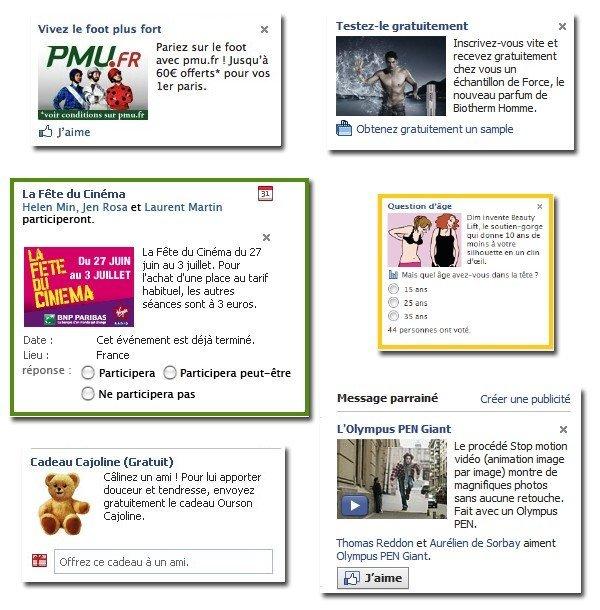 Exemple Publicités sur Facebook