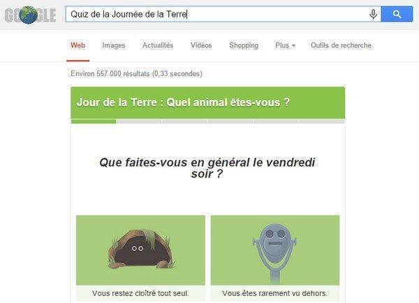 Quiz journée de la terre Google