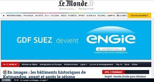 Exemple de bannière publicitaire sur Lemonde.fr