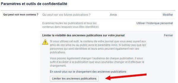 limiter visibilité anciennes publication Facebook