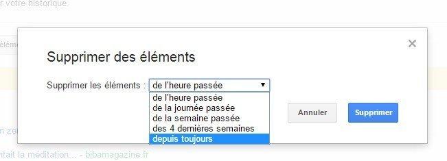 supprimer des éléments - historiques Google