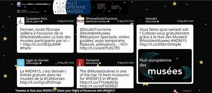 Nuit des musées - mur de tweets