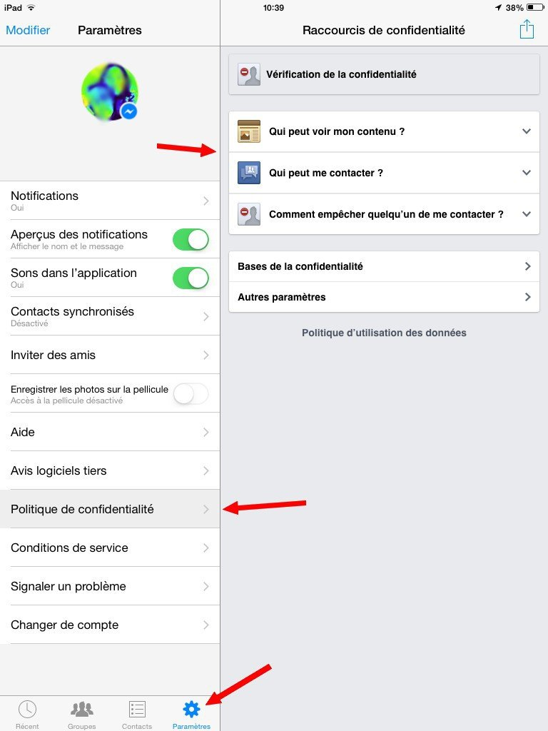 Paramètres de confidentialité Facebook Messenger