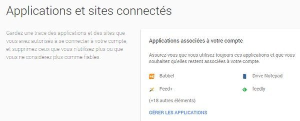 Applications et sites connectés