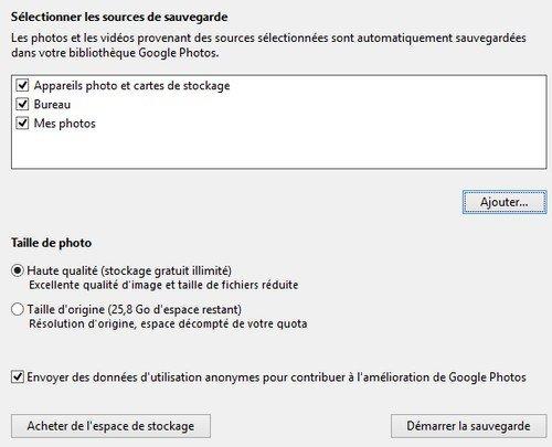 Google Photos Backup paramètres