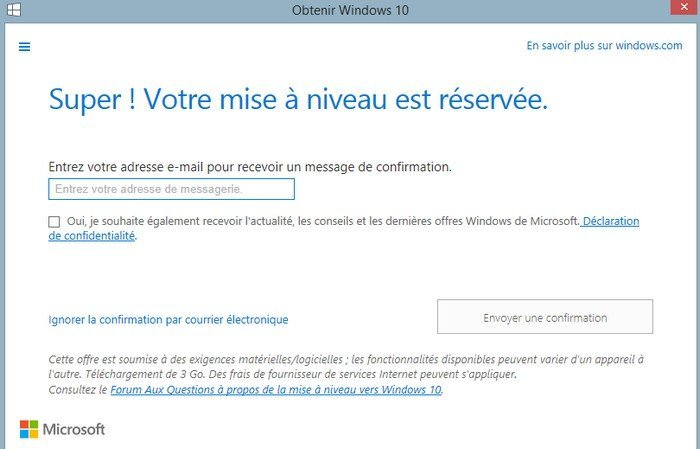 Obtenir Windows 10 email