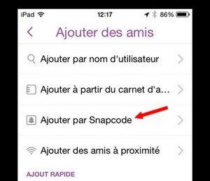 Ajouter par Snapcode