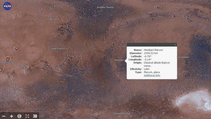 L'application Mars Trek de la NASA te fait découvrir la planète rouge