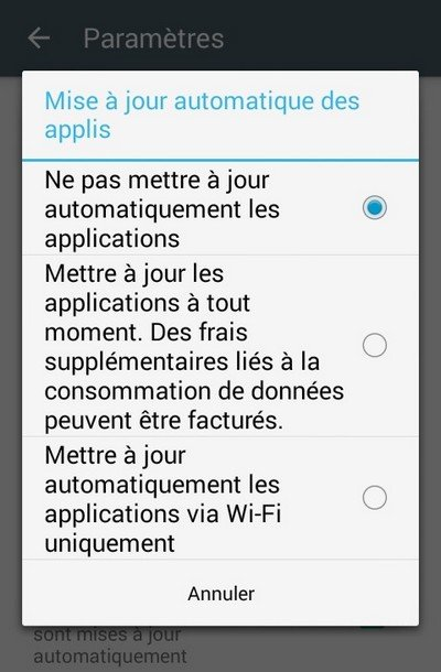 Android mise à jour des applications