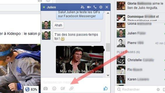 Gif sur Facebook Messenger