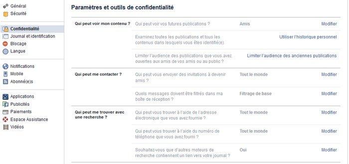 Paramètres et outils de confidentialité Facebook