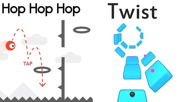 Hop Hop Hop et Twist : deux petits jeux mobiles qui cartonnent