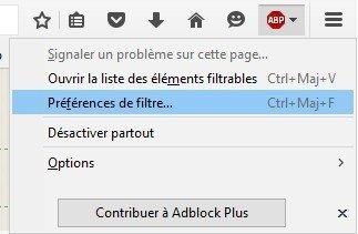 Préférences adblock plus