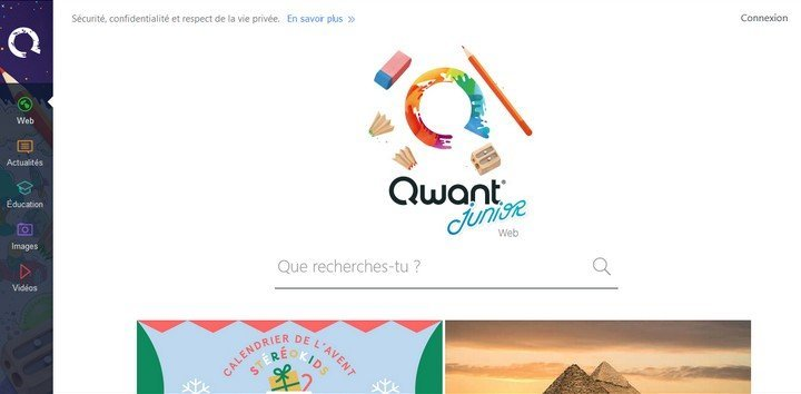 Qwant Junior Home page