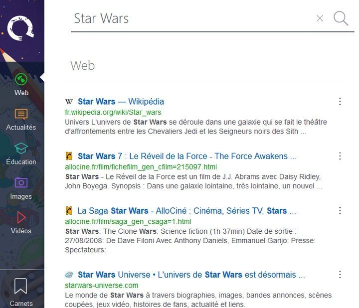 Qwant Junior Star Wars