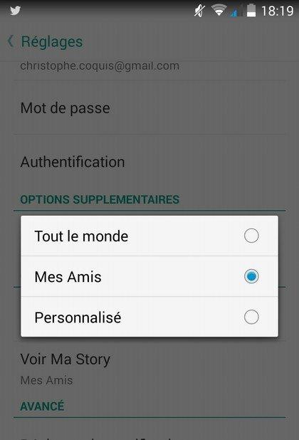 Snapchat partage story