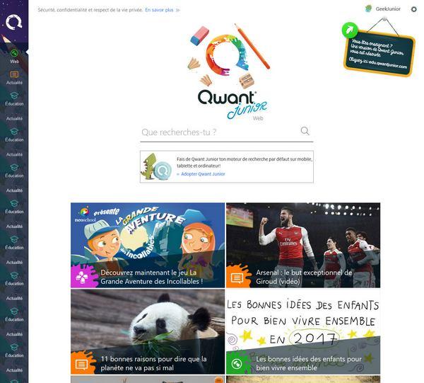 Qwant Junior - page d'accueil