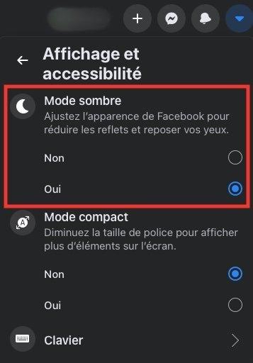 Mode sombre Facebook