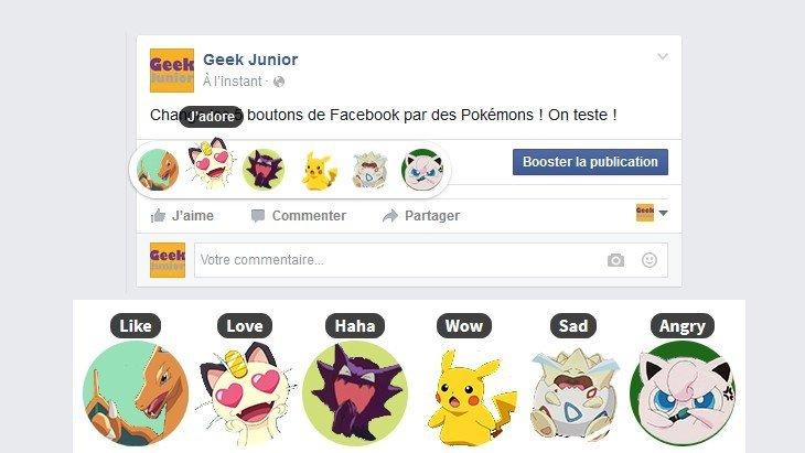 Change les 6 boutons de Facebook par des Pokémons  !