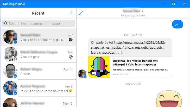 Facebook Messenger sort une application Windows 10