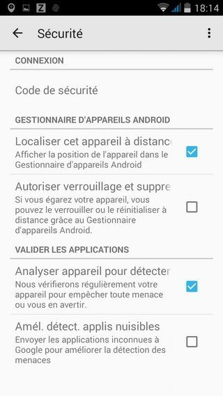Android Device manager menu