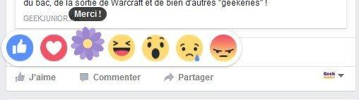 Réaction Merci ! Facebook