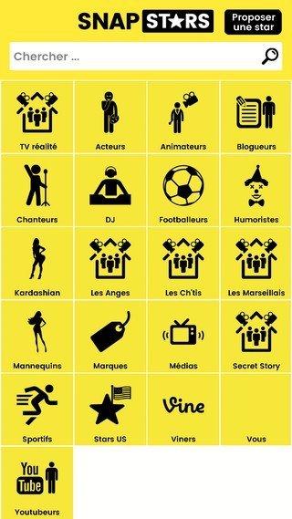 SnapStars catégories