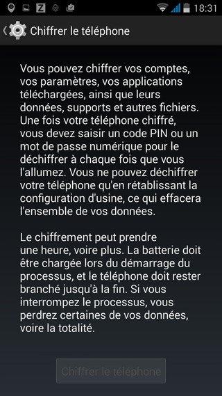 chiffrer le téléphone Android