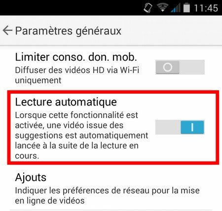 paramètres youtube