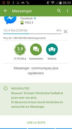 Facecook Messenger football MAJ