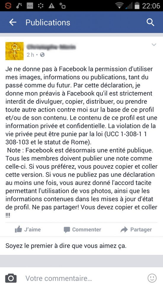 Facebook exemple Hoax